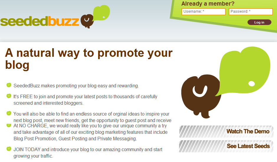 Seededbuzz home page SeededBuzz: A Place to Promote Your Blog!