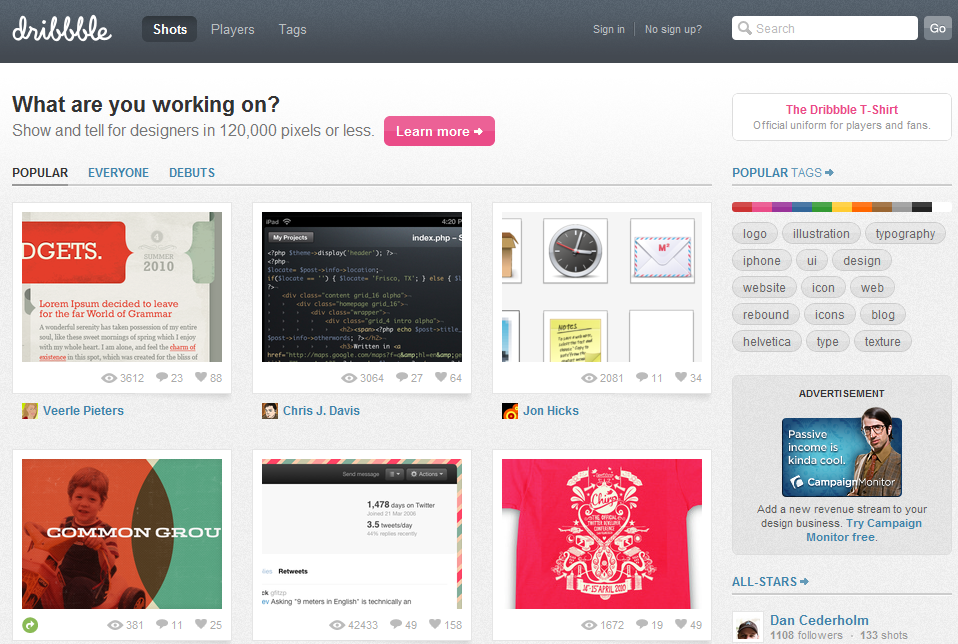 dribbble home Dribbble: The New It Hangout & Sharing Space for Designers