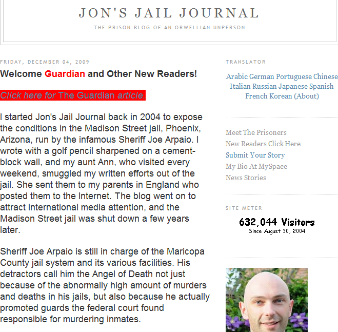 jons jail journal Blogging from Prison!