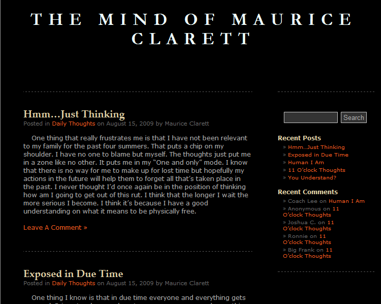 maurice clarett blog Blogging from Prison!