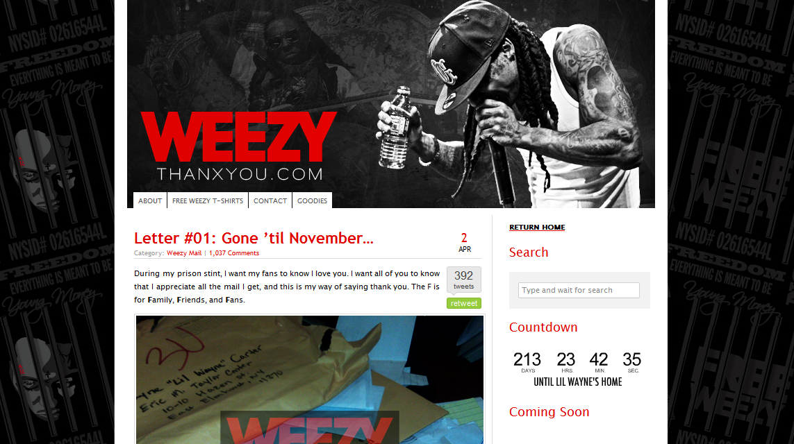 weezy blog1 Blogging from Prison!