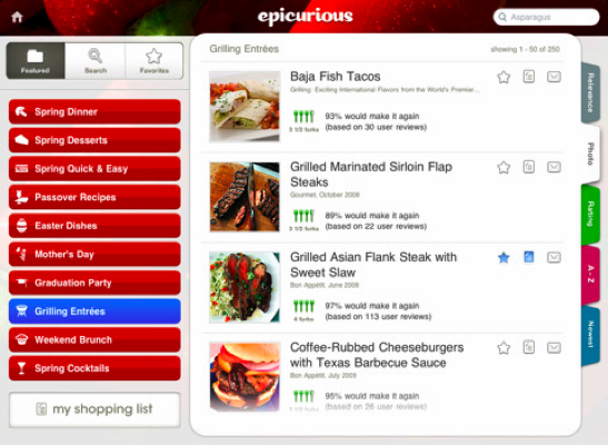 epicurious for ipad Epicurious iPad App: Recipes for Life!