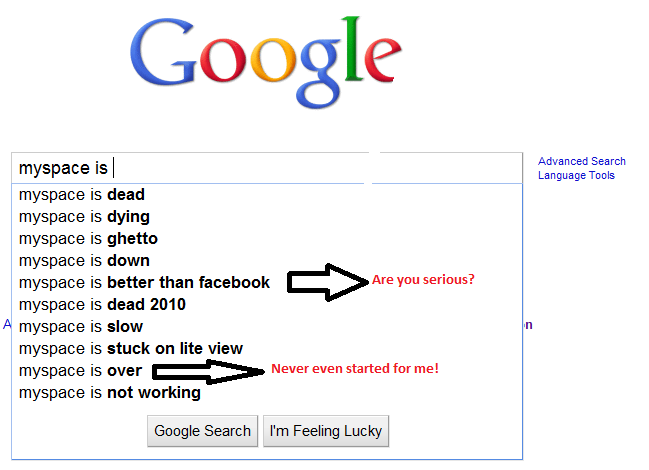 myspace is1 Google Search Says Facebook IS...
