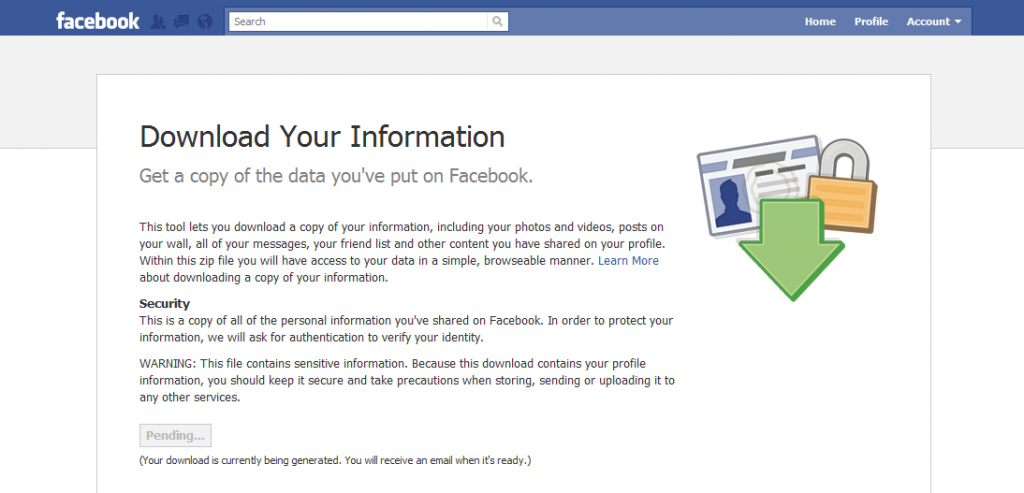 facebook backup page 1024x493 How To Back Up Your Life   Oops, I Mean Your Facebook Account