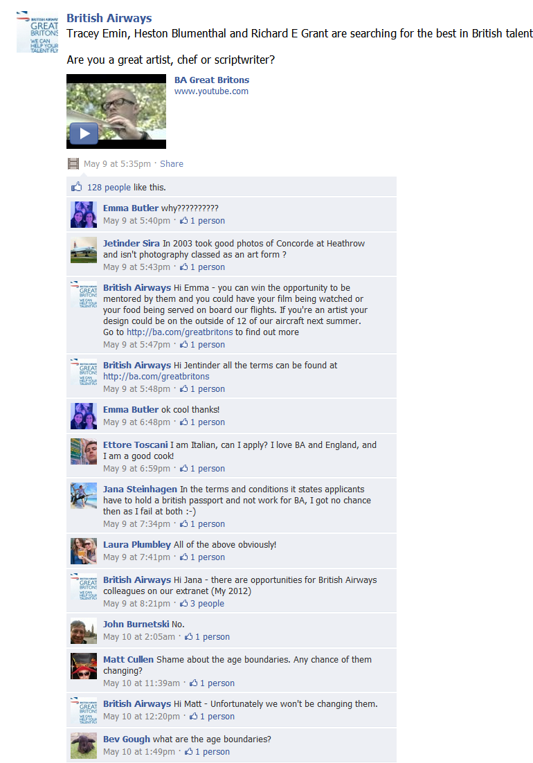BA Facebook Wall Comments British Airways Gets Social Media!