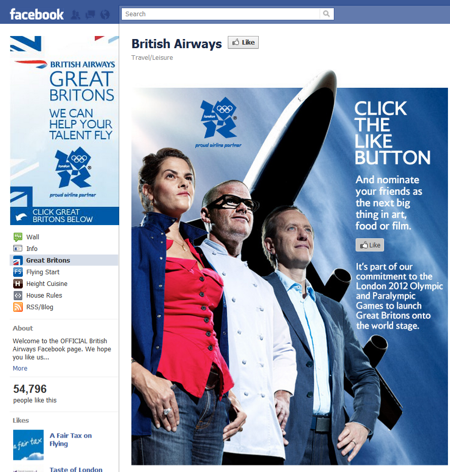 British Airways FB Landing Page British Airways Gets Social Media!