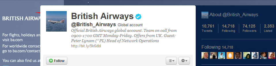 British Airways Profile on Twitter1 British Airways Gets Social Media!