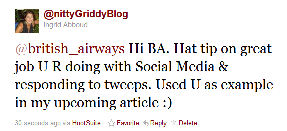 Tweet to BA British Airways Gets Social Media!